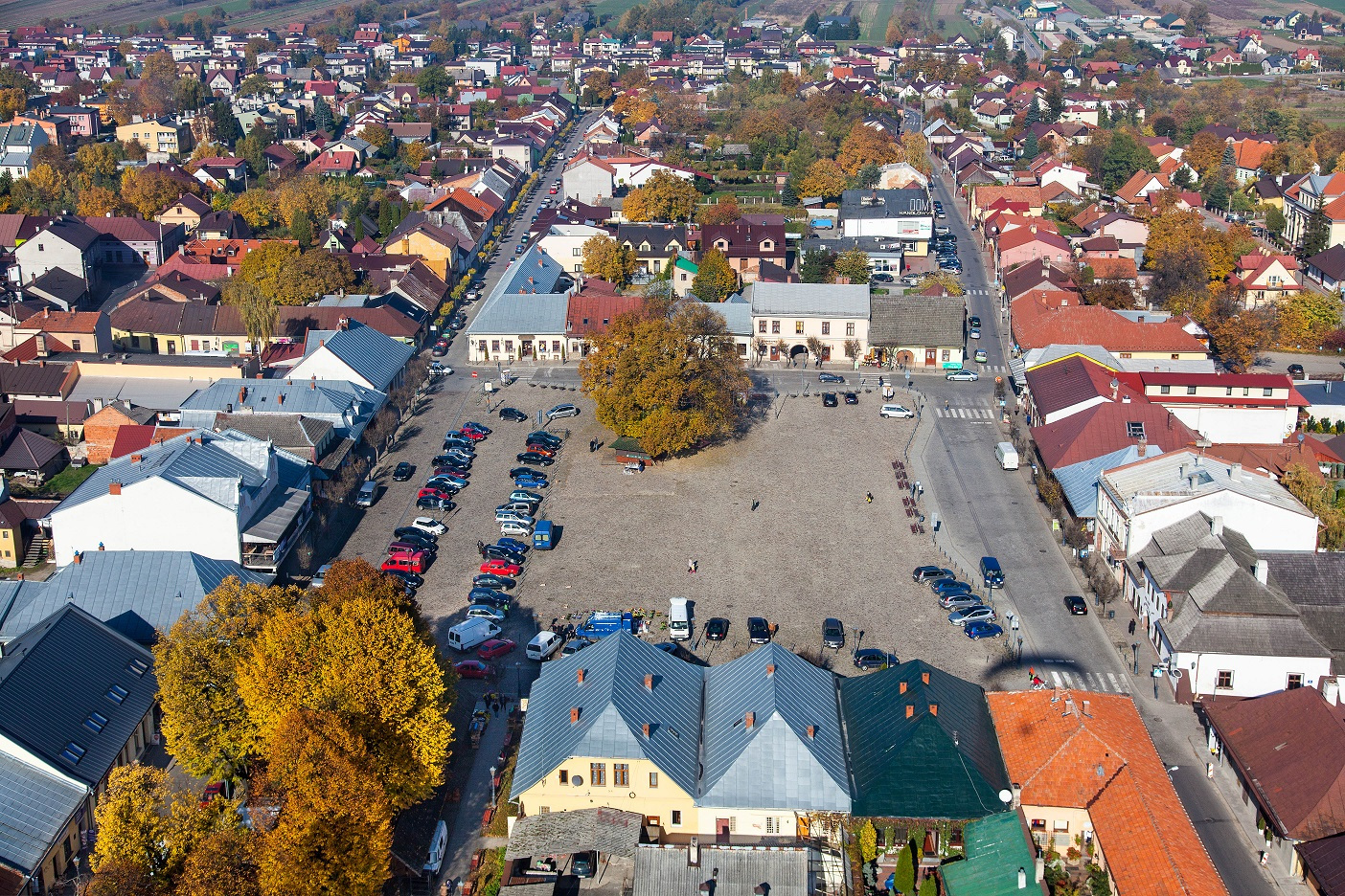 Stary Sacz, Rynek Starego Miasta. EU, Pl, Malopolska. Lotnicze.