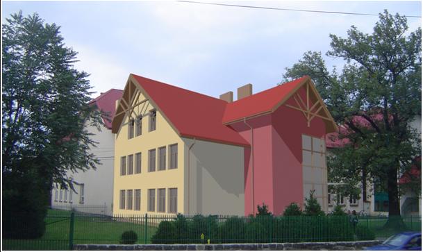 Wizualizacja rozbudowa budynku szkoły podstawowej w Barcicach